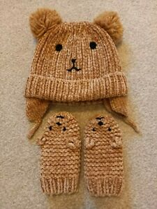 Brown Chenille Teddy Bear Hat and Mittens Set Age 1-2 Years