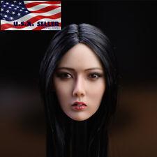 "1/6 Scale Asian Female Head Sculpt Black Hair 12"" Phicen SUNTAN Figure ❶USA❶"
