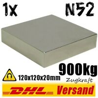 Extrem starker Neodym Power Magnet 120x120x20mm 12x12x2cm 900kg N52 Dauermagnet