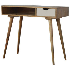 Handcrafted Nordic Open Slot 1 Drawer Writing Desk