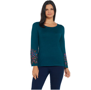 Linea by Louis Dell'Olio Whisper Knit Sweater with Embroidery Peacock Size L