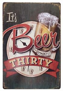 """It's Beer Thirty Vintage Funny Home Decor Tin Sign 8"""" x 12"""""""