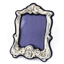 Art Nouveau Sterling Silver Photo Frame w/ Cobalt Blue Velvet & Easle Backing