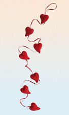 Red Plastic Garland Heart With Glitter Party Decoration Valentines Day 1.2m