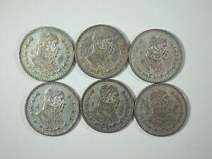 Lote 6 Monedas México 1 Peso 1957-1962 con Plata