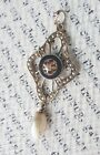 Antique Victorian 10k Yellow Gold Diamond Seed Pearl Lavalier Pendant Necklace
