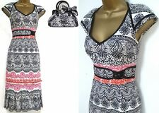 KAREN MILLEN ✩ LACE PRINT PLEATED HEM COCKTAIL DRESS + MATCHING BAG ✩ UK 8