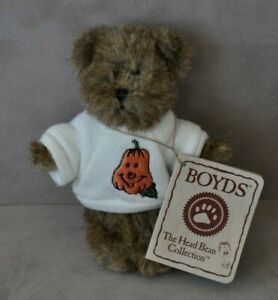 Boyds Bears HAPPY PUMPKIN Halloween mini bear white sweatshirt #567047 - NEW!