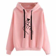 Women Sweatshirt Hoodie Ladies Oversize Tracksuit Pink Love Heart Finger Casual