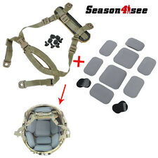 Tactical MICH Helmet Retention System Chin Strap Tan & Protective Spacer Pads