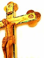 "Holy Land JESUS olive wood Mother of Pearl cross crucifix 14 Stations 15""  NEW"