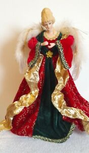 Large Christmas Tree Topper Angel Vintage Ceramic Face Feathers gold red green