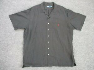 Polo Ralph Lauren Shirt Mens Short Sleeve  2XLT Tall Black Camp Silk Linen Blend