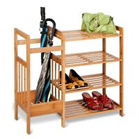 4 Tier Bamboo Entryway Shoe Storage Rack Hallway Organiser & Umbrella Holder