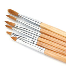 Wooden Handle Nail Art Tips Sable Brushes Set Pack of 6