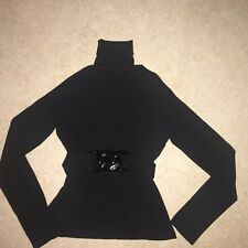 GIANNI VERSACE Black Wool Knitted V-Back  Polo Neck Jumper IT 38 UK 6 8