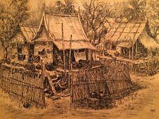 """Vintage Original Ink Drawing by Kamron Asian Artist  Framed & Signed 12"""" x 16"""""""