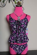 Betsey Johnson Blowing Kisses Corset Lacing Peplum Tankini & Bikini Bottom SM