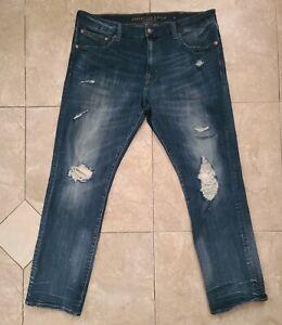 American Eagle Men's Extreme Flex 4 Slim Straight size 38 x 32 Distressed Jeans