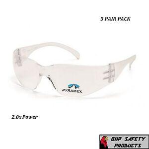 (3 PAIR) PYRAMEX INTRUDER READER SAFETY GLASSES BIFOCAL 2.0 CLEAR LENS S4110R20