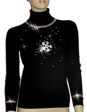LUXE OH `DOR® 100% Cashmere Pullover Schneeflocke Luxus schwarz silber 46/48 XL