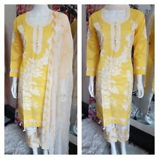 Yellow cotton white embroidery  Asian Ready Made Salwar pakistani shalwar kameez