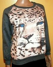 Leopard Sweater Animal Print Womens Gray XS