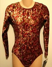 GK Elite Leotard Long Sleeved Gymnastic Dance Redish Brown Velvet Floral AL