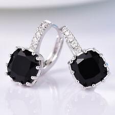 Black Crystal Onyx CZ Silver Gold Filled Women Lady Wedding Hoop Huggie Earrings