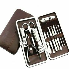 12Pcs Pedicure Manicure Set Nail Cleaner Clippers Cuticle Grooming Tool Kit Us