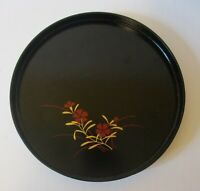 Vintage JAPANESE Chinoiserie TEA TRAY Black Lacquer LOOK w Red and Gold Flowers!