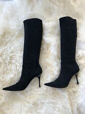 Casadei Black Suede Stretch Boots 9 1/2 B Stilettos