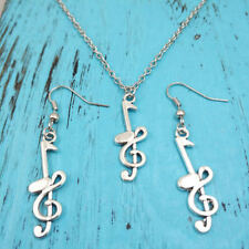 New music note Necklace earring pendants jewelry,Silver handmade jewelry sets
