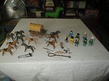 vintage 1980 Schaper Playmobile cowboys covered wagon Indians horses lot