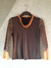 * New Tags Ladies Women's Top Shirt Blouse Leopard Skin Glitter Top Size Small S