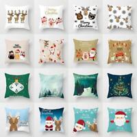 Belle taie d'oreiller en coton imprimé noël couverture de coussin en lin décor