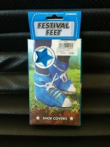 FESTIVAL FEET SHOE COVERS LOOK LIKE  HI-TOP TRAINERS WITH TIES LIKE LACES NEW