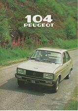 PEUGEOT 104 Brochure 5dr GL & SL 1979 => POST FREE UK <=
