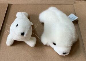 Lot of 2 Seals Russ Berrie Item No. 930 White Baby Harp Seal Pup Plush Stuffed