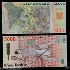 Maya 5000 Soles De Oro POLYMER Banknote 2013 UNC