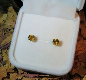 CERTIFICATE Genuine natural Yellow Sapphire 5mm solid 9k yellow gold earrings 🌟
