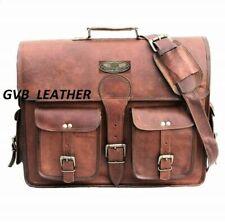 Bag Messenger Briefcase Vintage Men's Flexible Leather Satchel Shoulder Laptop