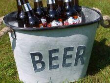Estilo Vintage Gris Metal Cubo De Hielo Refrigerador de cerveza Jardín Fiesta Barbacoa Shabby Chic