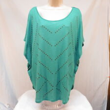 Bit & Bridle Studded Turquoise Green Shirt Size Large