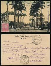 BRAZIL 1913 PPC BELEM DO PARA ROAD PERNAMBUCO via PORTUGAL to RHODESIA