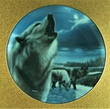 Night Sentries Plate Realm of the Wolf Kevin Daniel Gray Black Wolves Bradford
