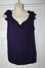 Ladies Purple Oasis Top Size S Stretchy Frill Detail Blouse