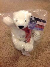 "Coca Cola Coke Company 2007 White Polar Bear Plush sitting Red Scarf 7"" NEW"