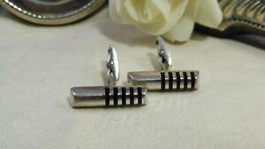 Vintage Tateossian London Art Deco Style Sterling Silver Enamel Cufflinks 925
