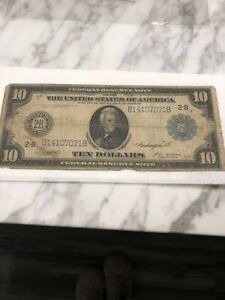 1914 $10 Federal Reserve Note Large New York